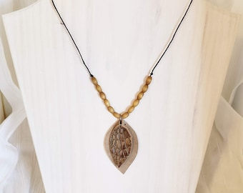 """Suede Leather Leaf Necklace // FREE SHIPPING // Brown and Taupe // Wood Beads // 20"""" // Lightweight // Comfortable"""