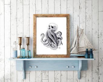 Octopus Skull handmade Drawing, Digital Print, Art Print, Made in pencil, charcoal and ink, Realistic Drawing, OctoSkull