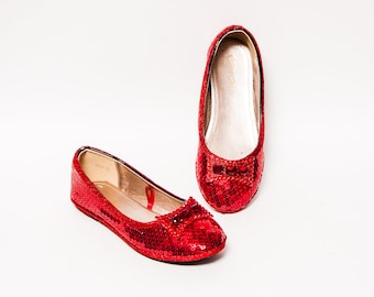 Youth - Toddler - Girls Flats Red Sequin Dress Shoes with Rhinestone Bows