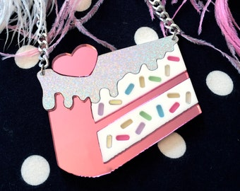 Funfetti Slice of Cake Acrylic Necklace, Laser Cut Acrylic, Plastic Jewelry
