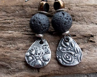 Wabi Sabi Earrings    Mixed Match Earrings   Pewter and Lava Rock   Earthy   Organic   Boho   Hippie   Limited Edition   Earrings Under 25
