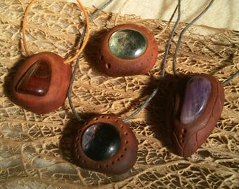 Gem stone / Earth tribe / Avocado seed necklace / Avocado pit pendent / Seed carving