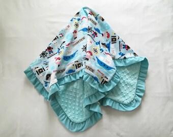 Baby Blanket Minky Corduroy Ruffle Medium Size Pirates Blues Reds White