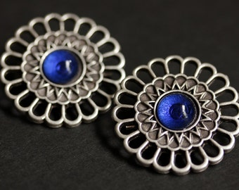 Two (2) Viking Shoulder Brooches. Norse Brooches. Apron Pins. Cobalt Blue Glass and Aged Silver Brooch Set. Historical Reenactment Jewelry.