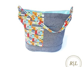 Ready to Ship Handmade Bucket Bag - Handmade Tote - Zippered Tote - Dear Stella Va Bene Townhouse Tote Bag - Townhouses and Linen Bucket Bag