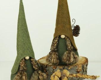 Fille nordique Gnomes, HADDNA, Gnomes scandinaves, Nisse, Tomte, fille Gnomes, forêt bois Gnomes, Gnomes nordiques rustiques, nattes de nains de jardin