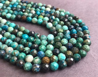 Chrysocolla Faceted Round Loose Beads 15.5'' Long Per Strand. Size: 6mm/4mm R-F-CHR-0103