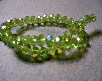 Crystal Beads Olive AB Faceted  Rondelles 4x3mm