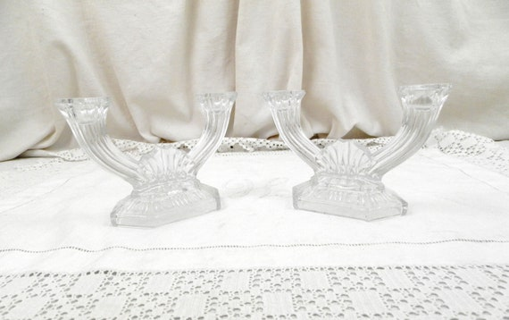 Matching Pair Art Deco  Pressed Clear Glass Antique French Candle Holders, 2 1930s Retro Candlesticks, Vintage Lighting from France