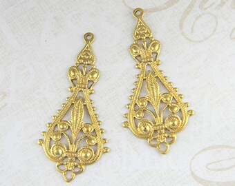 Raw Brass Filigree, Earring Dangle, Brass Pendant, Raw Brass Stamping 20mm x 43mm - 6 pcs. (r115)