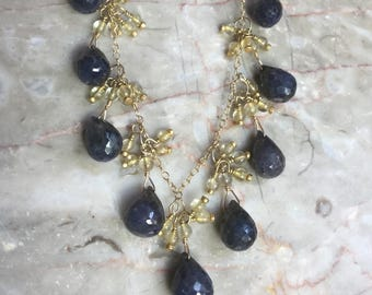Sapphire and citrine cluster necklace
