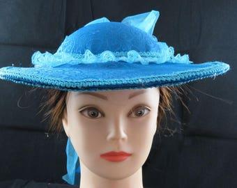 Turquoise Blue Brocade Civil War Victorian Hat