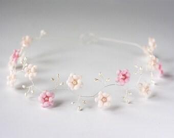 Wedding headband, Flower wedding headband, Pink tiara, Pink wedding headband, Flower wedding headbands, Floral headband wedding, Tiara 52