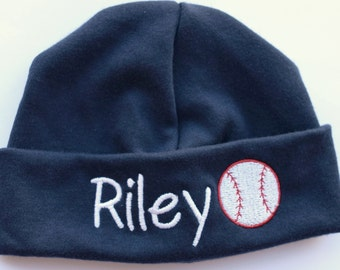 Monogrammed Personalized Embroidered Newborn Cap w/ Baseball
