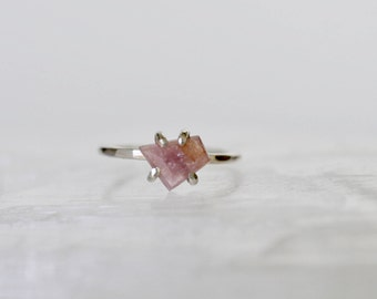Pink Geometric cut Spinel Solitaire Ring. 14 k Gold Fill ring. Valentine's Gift. Size 5 3/4 - 6 1/2 Self Love. Gift yourself.