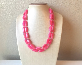 Pink Pretty Double Strand Necklace, Chunky Pink Necklace, Pink Statement Necklace, Pink Beaded Necklace, Pink Wedding Bridesmaid Beads