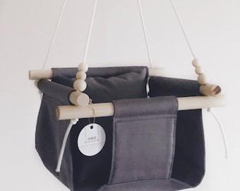 Baby swing, gray baby swing, toddler swing, nursery decor, indoor swing, outdoor swing, wooden swing, baby fabric swing, baby toy,