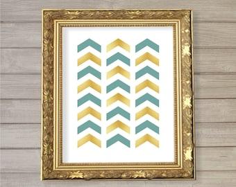 Chevron Pattern Printable Wall Art Aqua Faux Gold Foil -8x10- Instant Download Digital Print Living Room Home Interior Decor
