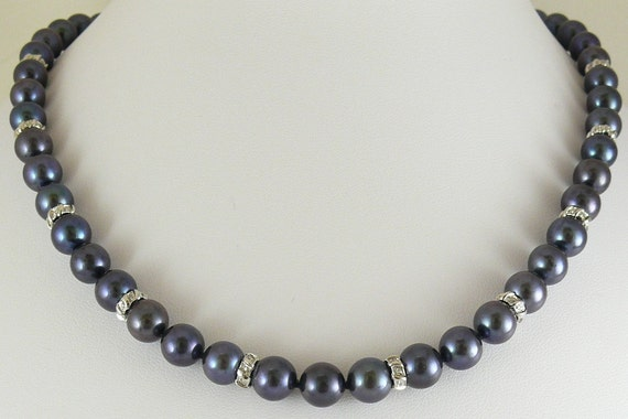 """Fresh Water Pearl 8 to 8.5 MM Black Necklace w Diamond Rondels 0.31ct 17 3/4"""""""