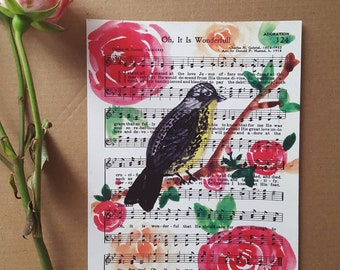 Oh, It is Wonderful - Christian Hymn - Hymnal - Art Print - Watercolor Painting - Roses - Bird - Church Worship Music