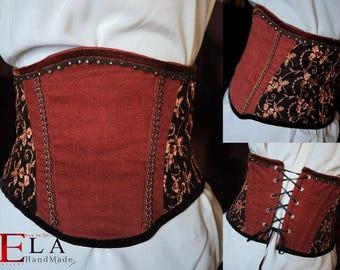 Brown medieval underbust corset/ Steam punk under bust corset