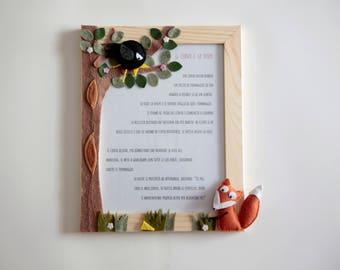 cadre photo en bois et feutre «Le Corbeau et le renard»