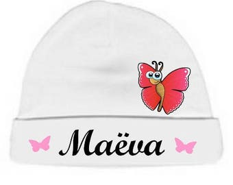 Personalized with name White Butterfly baby Hat