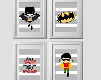 superhero wall art, super hero wall art prints, brothers quote wall prints, set of 4 high quality prints, shipped to your door