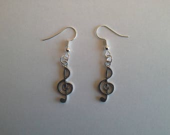 Earrings silver treble clef earrings