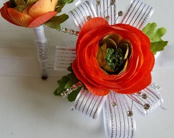 Orange Wrist Corsage and Matching Boutonniere. Orange Silver Prom Corage Set Artificial Flowers