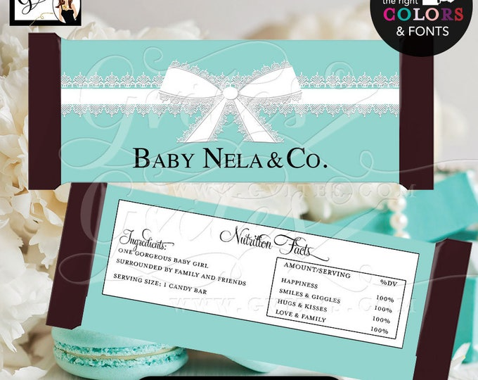 """Baby & Co Candy Bar Wrappers, Blue themed baby shower favors, hershey bar chocolate, labels, party printables {2 Per/Sheet 5.25 x 5.75""""}"""