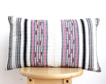 VINTAGE Hmong Pillow Hand Woven HEMP Organic HMONG Ethnic A Piece Of Tribal Textile Striped Black & White Cream , Pink