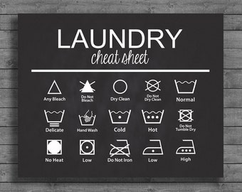 Laundry Cheat Sheet Chalkboard Sign  - 16x20 8x10