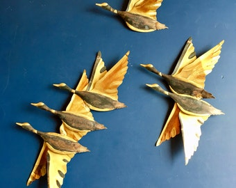 Vintage Copper and Brass Flying Geese Metal Wall Art Sculptural Hangings - Set of Three - Six Birds Total - Mid Century Modern 3-D Wall Art
