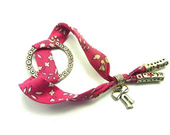 Liberty fabric adjustable strap and charm small elegant bow