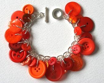 Orange Crush Button Charm Bracelet