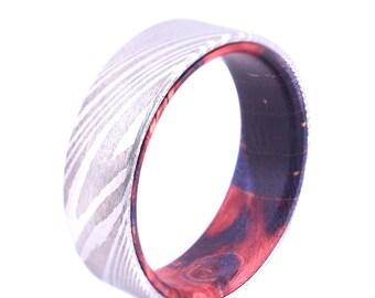 Damascus Twist Steel Box Elder Wood Ring Wedding Bands Wedding Rings
