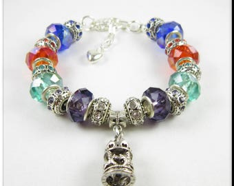 Carousel Charm European Bracelet Crystal and Rhinestone Beads Red, Blue, Green and Purple Large Hole Beads