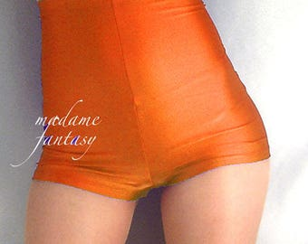 High waisted shiny spandex shorts hot pants orange