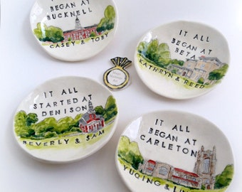 Unique engagement gifts for couple custom ring dish from your photo personalized and hand painted by Cathie Carlson