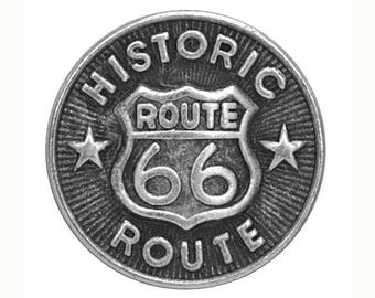 12 Route 66 Metal Buttons 9/16 inch ( 15 mm )
