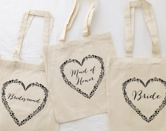 SET OF 10 TOTES - 5 Bride, 3 Bridesmaids and 2 Maid of Honor