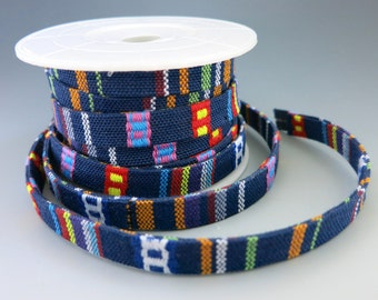 Woven Native Flat Cotton Cord, Blue Multicolors, 10mm Wide, By the Inch, Ethnic Boho Bracelets, Hatbands, Belts, Tribal Designs