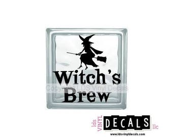Witch's Brew - Halloween Vinyl Lettering for Glass Blocks - Fall Craft Decals