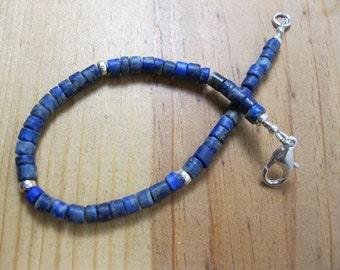 Lapis Heishi, Sterling Silver Bracelet, Mens Beaded Bracelet, Native American Bracelet, Heishi Bracelet, Mens Bracelet, Lapis Bracelet