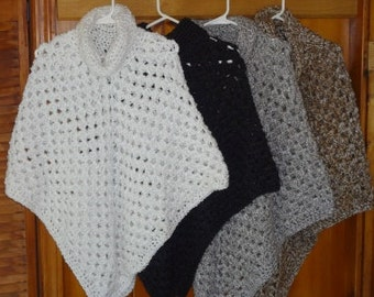 White, Grey, or Brown Poncho with Cowl Collar Ready to Ship - Adult size