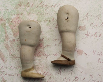 Legs for Porcelain Dolls Dirty Antique German with painted shoes