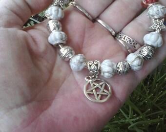 Pagan Wiccan, White Sage, Euro style bracelet