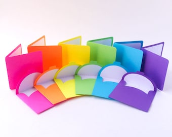 "3"" x 3"" Mini Note Cards & Envelopes - Set of 6 - Neon Note Cards - Blank Note Cards - Ready to ship"