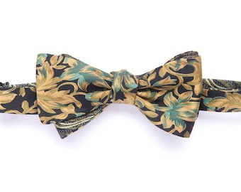 Self-tie reversible bowtie green and yello, flower rococo pattern, silk bow tie for Men, adult, classic wedding and groomsmen, graduation
